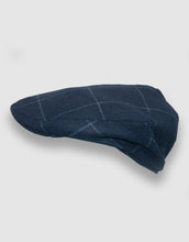 Load image into Gallery viewer, Cashmere 105 Flat Cap, Navy Stripe