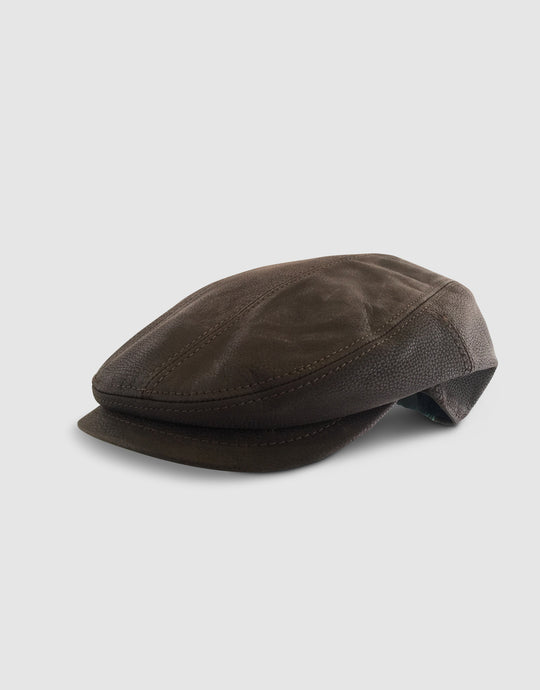 Nappa Leather 111 Flat Cap, Brown