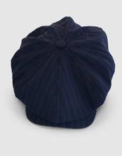 Load image into Gallery viewer, Pure Wool 203 Newsboy Cap, Navy Herringbone