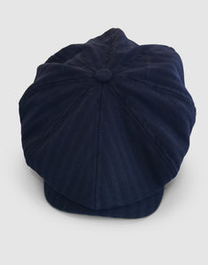 Pure Wool 203 Newsboy Cap, Navy Herringbone