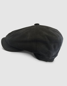 Nappa Leather 211 Newsboy Cap, Black
