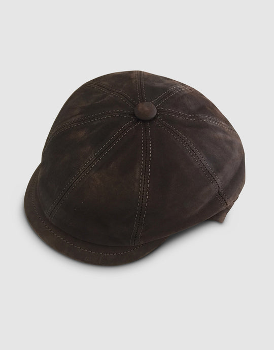 Nappa Leather 211 Newsboy Cap, Brown