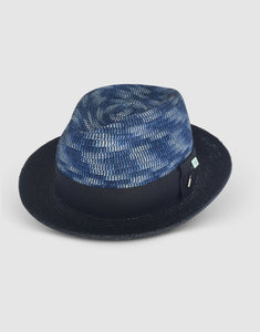 Straw & Braid 307 Fedora Hat, Black and Blue