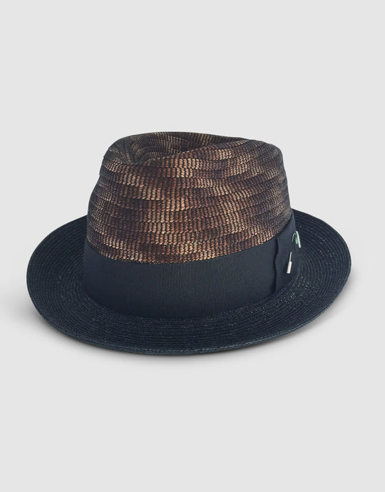 Straw & Braid 307 Fedora Hat, Black and Brown