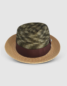Straw & Braid 307 Fedora Hat, Natural and Green