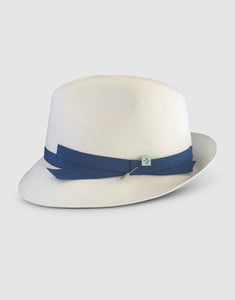 310 Brisa Panama Fedora Hat, Natural and Teal