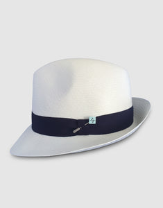 310 Superfine Panama Fedora Hat, Natural and Navy
