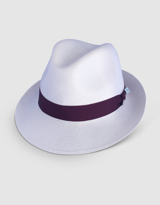 310 Superfine Panama Fedora Hat, Natural and Wine