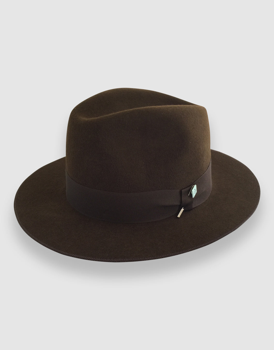 Merino Wool Felt 365 Fedora, Chestnut Brown