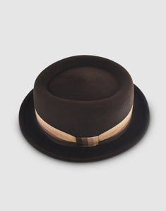 401 Rabbit Felt Pork Pie Hat, Brown