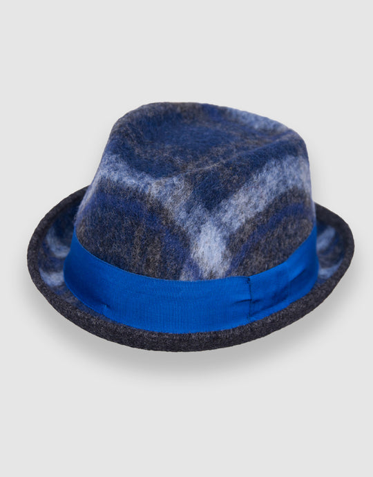 403 Wool Felt Pork Pie Hat, Navy Tartan