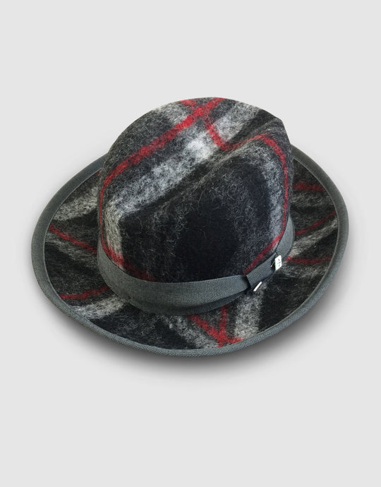 502 Tweed Wool Felt Homburg, Black Tartan