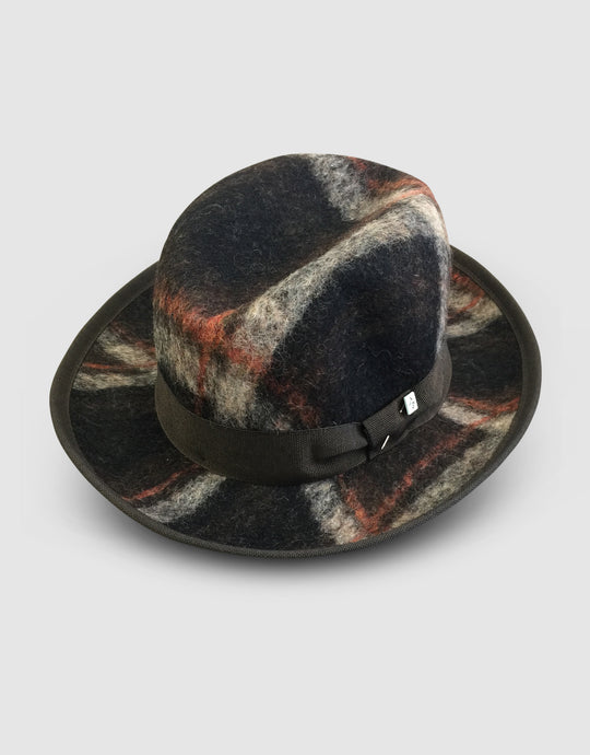 502 Tweed Wool Felt Homburg, Brown Tartan