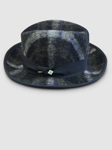502 Tweed Wool Felt Homburg, Navy Tartan