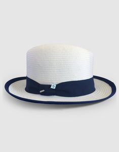 506 Straw Homburg, White
