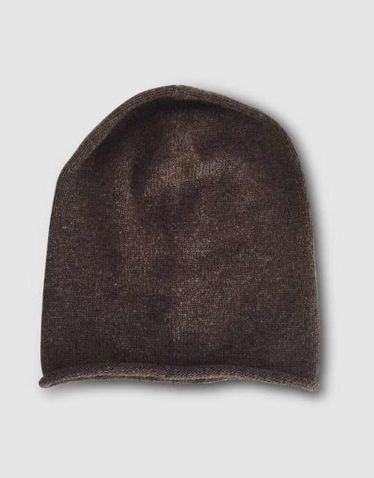 834 Cashmere & Wool Knitted Beanie Hat, Brown