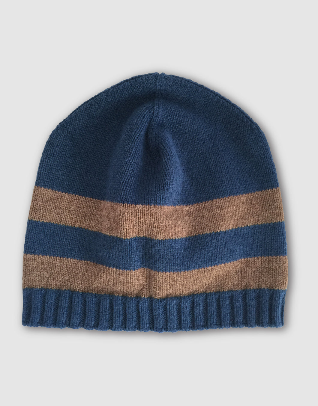 835 Striped Wool Beanie Hat, Denim Blue