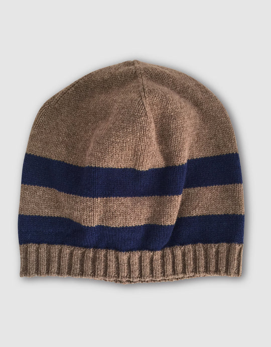 835 Striped Wool Beanie Hat, Beaver Brown