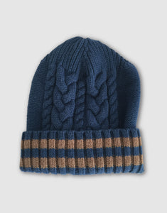 836 Cable Knit Wool Beanie Hat, Denim Blue