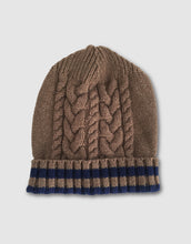 Load image into Gallery viewer, 836 Cable Knit Wool Beanie Hat, Beaver Brown