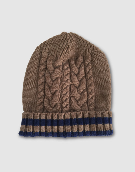 836 Cable Knit Wool Beanie Hat, Beaver Brown
