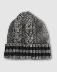 836 Cable Knit Wool Beanie Hat, Grey