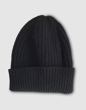 Load image into Gallery viewer, 837 Cashmere & Wool Pearl Stitch Beanie Hat, Black