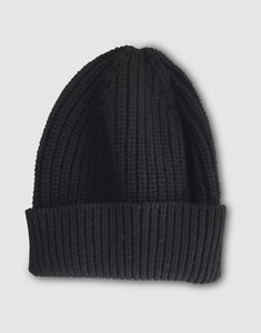 837 Cashmere & Wool Pearl Stitch Beanie Hat, Black