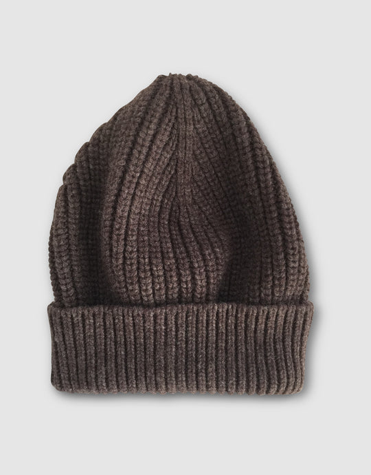 837 Cashmere & Wool Pearl Stitch Beanie Hat, Brown