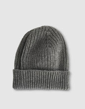 Load image into Gallery viewer, 837 Cashmere & Wool Pearl Stitch Beanie Hat, Grey