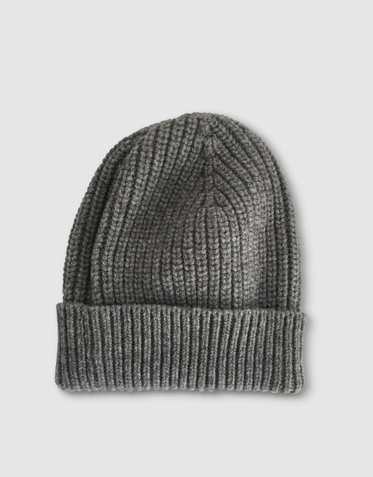 837 Cashmere & Wool Pearl Stitch Beanie Hat, Grey