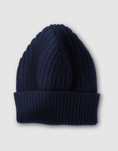 Load image into Gallery viewer, 837 Cashmere & Wool Pearl Stitch Beanie Hat, Navy