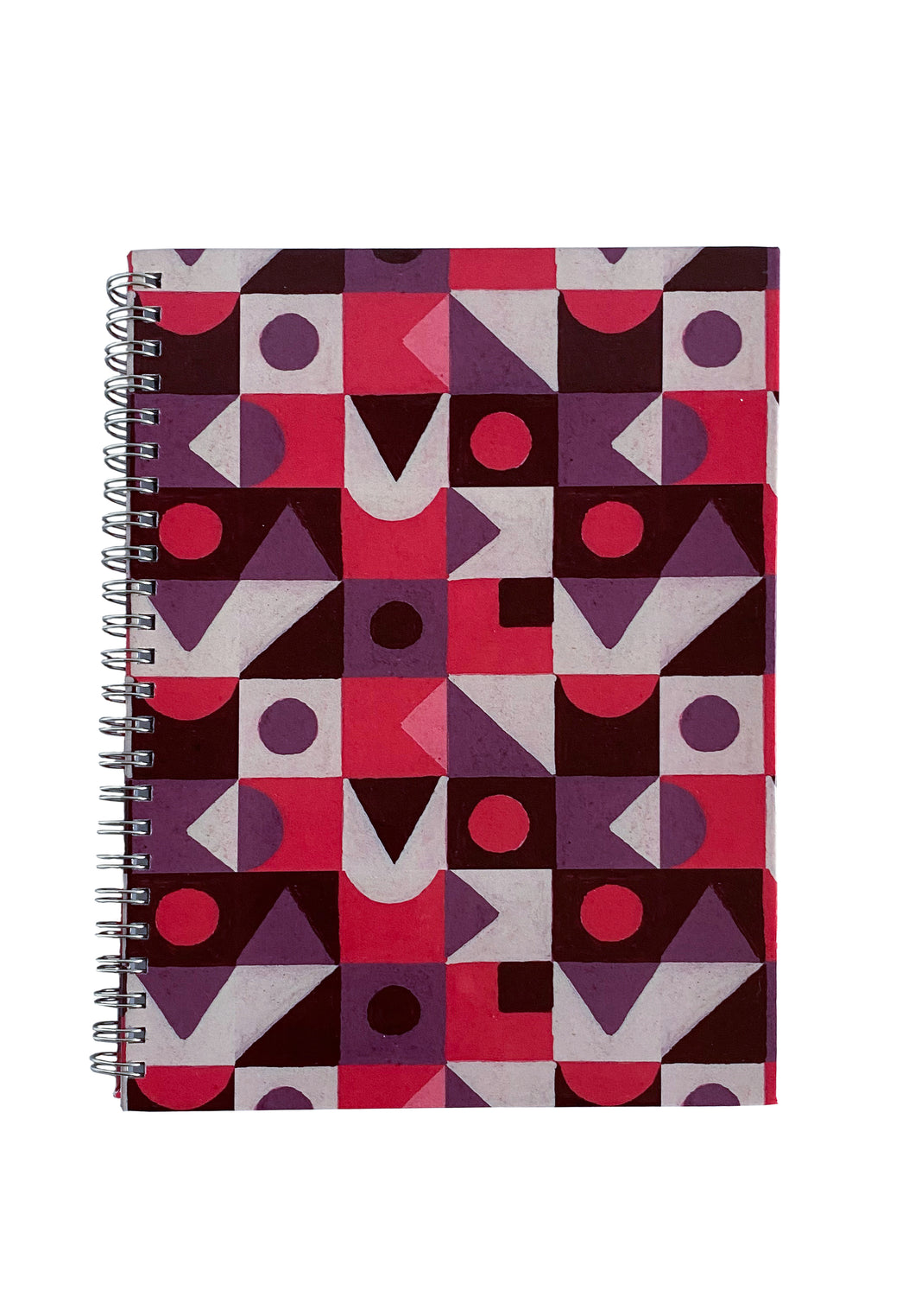 Spiral A5 Notebook, Red Abstract