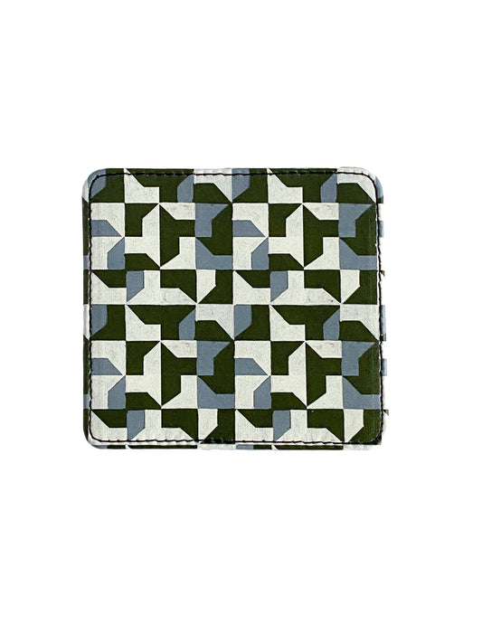 Leather Coaster, Green Abstract