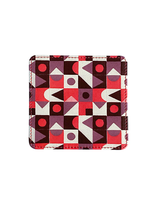 Leather Coaster, Red Abstract