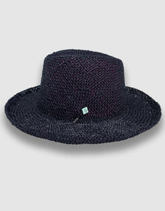 520 Straw Homburg Hat, Black