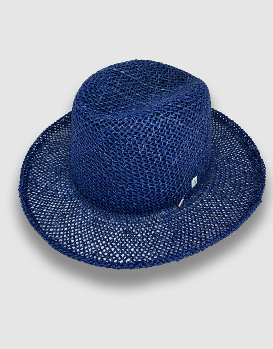 520 Straw Homburg Hat, Indigo