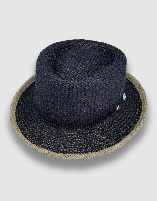 420 Straw Pork Pie Hat, Black