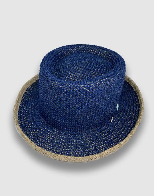 420 Straw Pork Pie Hat, Indigo
