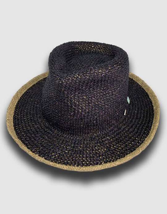 320 Straw Fedora Hat, Black