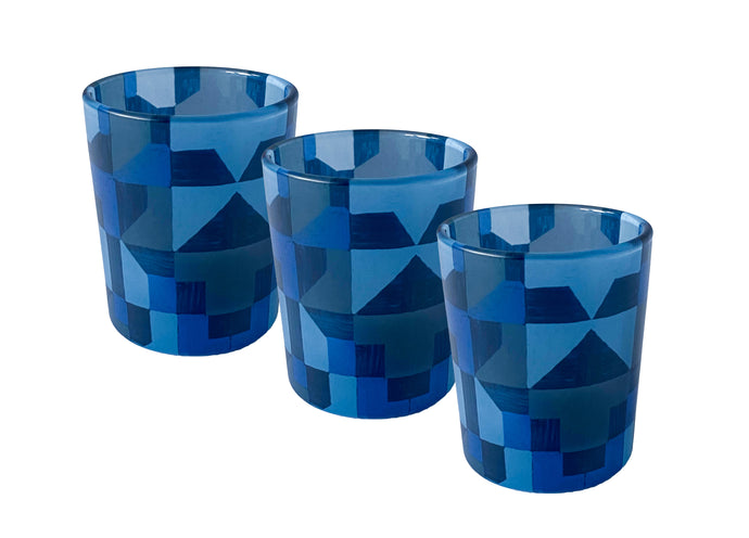 Glass Tea Light Candle Holders, Blue Abstract 3 Set