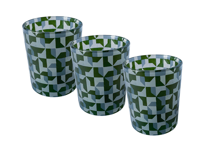 Glass Tea Light Candle Holders, Green Abstract 3 Set