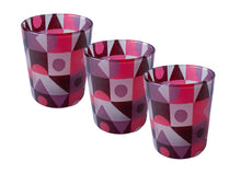 Load image into Gallery viewer, Glass Tea Light Candle Holders, Red Abstract 3 Set