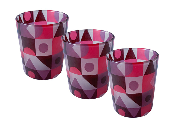 Glass Tea Light Candle Holders, Red Abstract 3 Set