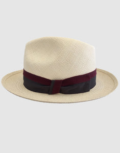 303 Panama Fedora Hat, Natural and Grey