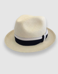 303 Panama Fedora Hat, Natural and Navy
