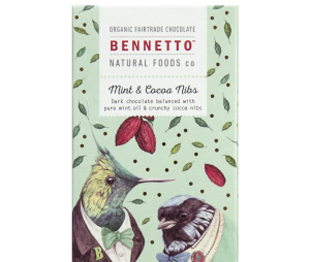 MINT AND COCOA NIBS 100GM CHOCOLATE BAR