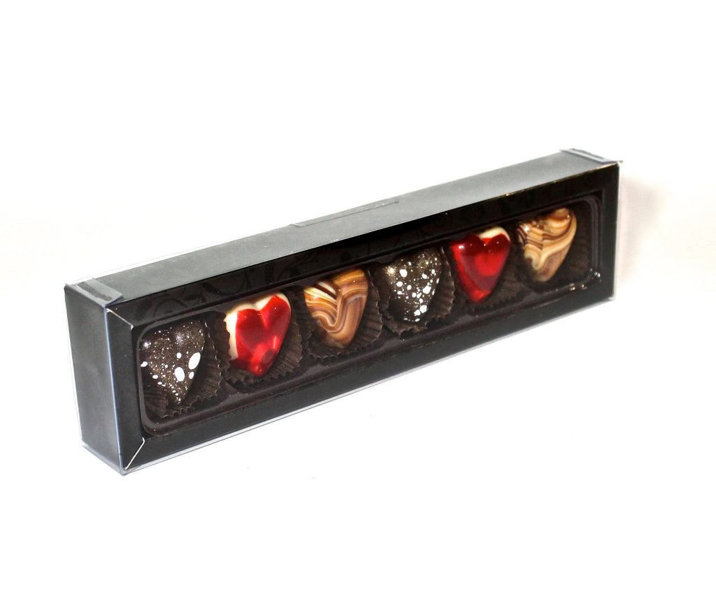 6 mixed heart shaped chocolate selections.