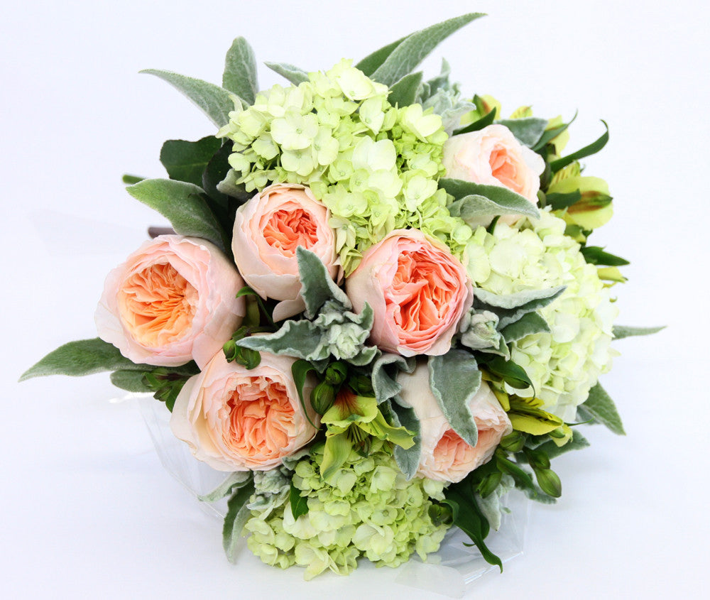 Peach roses.  - Lush foliage of green and whites.