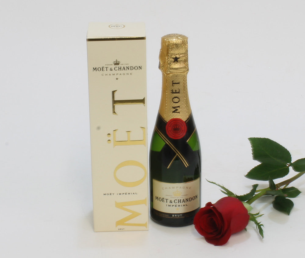 MINI MOET CHAMPAGNE AND SINGLE ROSE